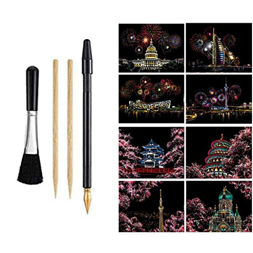 Scratch Art Paper Rainbow Painting 8 Cards and Pens DIY Craft Kits Night View City Landscape Scratchboard Interesting Toys Creative Gift for Adults Kids Black