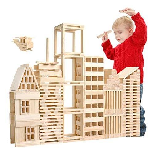 ERDFCV Wooden Construction Building Model Bricks Blocks Children Intelligence Toy – 100 Pieces Wood Board DIY Set Play with Friend Kids Gift