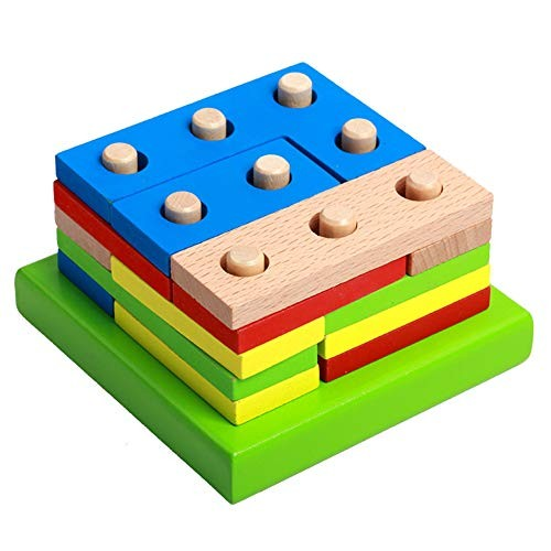 Gnc33Ouhen Shape Sorter Color Wooden Bard – Educational Toys for Toddlers Kids Learning Stack and Sort 15 Pieces Geometric Board Puzzle Great Gift 11cm x 7cm