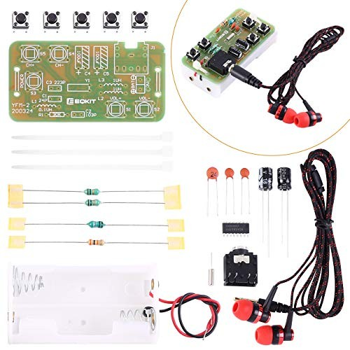 WHDTS FM Stereo Radio Module w Earphone DIY Kit Adjustable 76-108MHz Wireless Receiver DC 3V for Soldering Practice Electronics Learning & Decoration