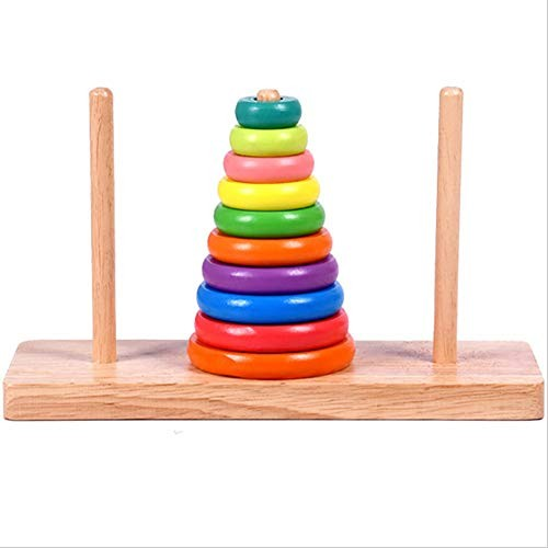 Stacking and Sorting Board Wooden Building Blocks Rainbow Stacker Children's Educational Toys Seven-Color Suit Tower Circle