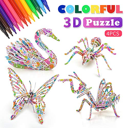 Art and Crafts for Girls Kids Toy Age 4 5 6 7 8 3D Puzzle Toys Kits 9-12 Year Old Girl Boys Supplies Gift 6-8 Toddlers Child Birthday