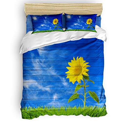 Crystal Emotion Sunflower Growing Countryside Duvet Cover Twin Set 4 Piece for Adults Kids Wooden Durable Bedding with Zipper Closure Includes 1 Cover1 Flat Sheet 2 Pillowcases