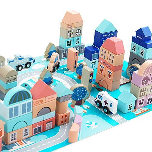 Meile Wooden Building Blocks Set-133 Pieces for Children Classic City Stacker Stacking Preschool Learning Educational Toys Set Bricks Board Games