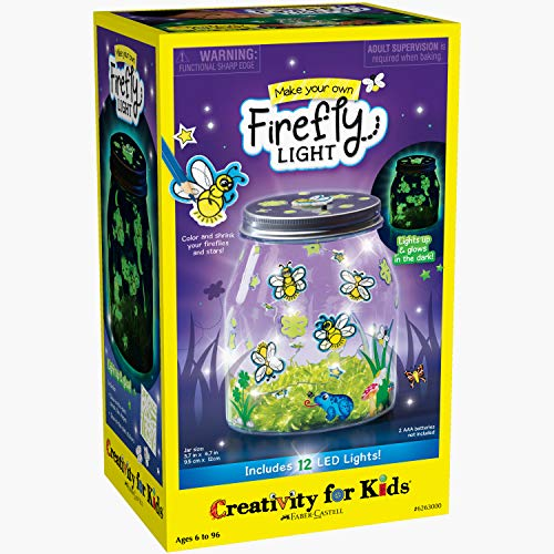 Creativity for Kids Make Your Own Firefly Light Craft Kit – Build a Play and Pretend Shrink Fun Indoor Lightning Bug Jar Multi