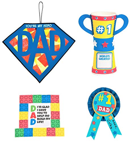 Father's Day Craft Kits Set – Superman Dad Sign Award Ribbon Trophy Cup & More Children's Activities for Classroom Kid's Sunday School Homeschooling Supplies Scrapbooking DIY Refrigerator Decor