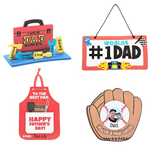 Father's Day Craft Kits Set – Dad License Plate Sign 3D Toolbox Apron Card & More- Children's Activities for Classroom Kid's Sunday School Homeschooling Supplies Scrapbooking DIY Refrigerator Decor