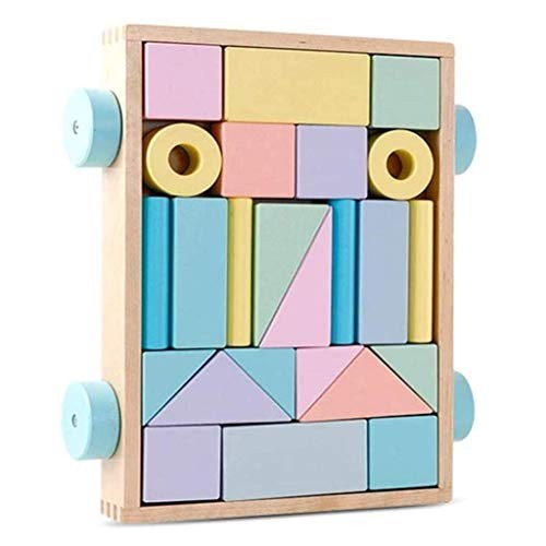 LJH Wooden Early Education Toy Color Trailer Building Blocks Children's Educational Enlightenment 24 Capsules Fx