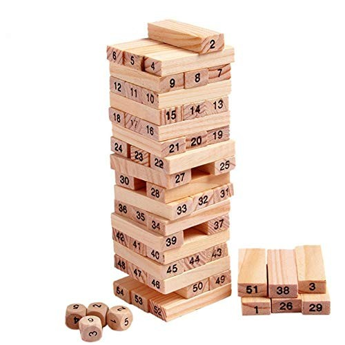CHENZHIQIANG Intelligence Toys Great 54 PCS Pile Wooden Building Blocks Educational Game for Children