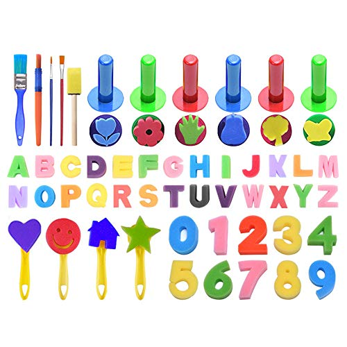 N x Abbsh Novelty Funny Toy Kids Art & Craft 51Pieces Sponge Painting Brushes Kits Early DIY Education Toys for Home Pastime