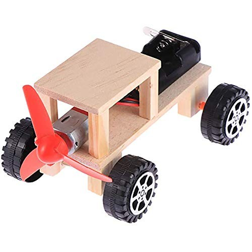 Children's Education Science Experiment Building Block Toy DIY Handmade Material Wooden Electric Car Model Birthday Collection Gift
