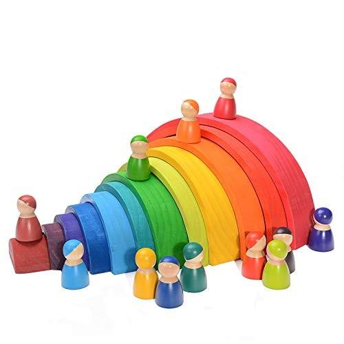JOMOT Baby Toys Large Size Rainbow Stacker Wooden for Kids Creative Building Blocks Montessori Educational Toy Children12 Puzzle+12little Man