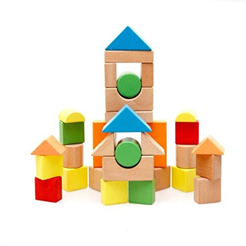Children's Wooden Building Blocks 32 Pieces in Barrels Large Colorful Toy Fx