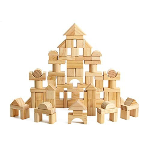 LJH 100 Pieces of Wooden Building Blocks DIY Children's Educational Toys 2-3 Years Old Fx