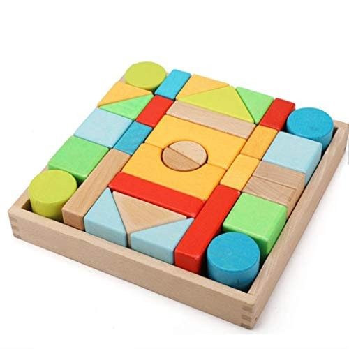 Toddlers 32 Large Color Puzzle Wooden Building Blocks Infant and Children's Toys 1-2-3 Years Old Particles Fx