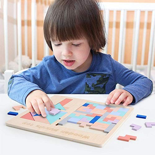 Oyunngs 3-in-1 Baby Educational Wooden Puzzle Kids Children Blocks Building Intelligent Toy for Infants Fine Motor Skill