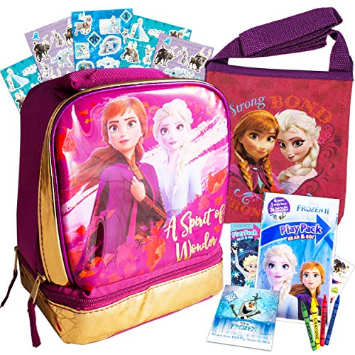Disney Frozen Lunch Box Travel Activity Set – Insulated Bag with Coloring Pack Games Stickers and More for Kids Frozen School Supplies Bundle