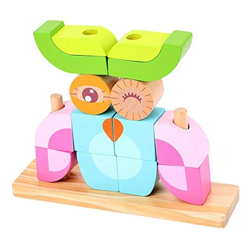 Educational Learning Toys for Kids Gift & Cartoon Owl Animal Wooden Building Blocks Stacking Game Toy