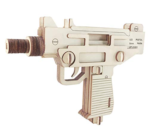 3D Wooden Puzzle Gun Model Toys DIY Craft Kits Brain Teaser Gift for Kids Adults Revolver