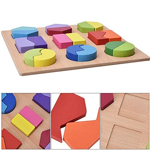 Oyunngs Wooden Geometric Shapes Block Building Blocks Kids Children Educational Puzzle Toy for Infants Fine Motor Skill