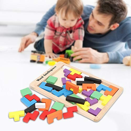 Oyunngs Wooden Colorful Children Puzzle Kids Jigsaw Toy Building Block Educational for Infants Fine Motor Skill