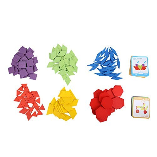 Oyunngs 155Pcs Wooden Geometry Shap Tangram Children Building Blocks Puzzle Educational Game Toy for Infants Fine Motor Skill