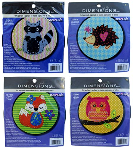 Dimensions Learn-A-Craft Felt Applique Kid's Craft Kits – Pack of 4 Animals