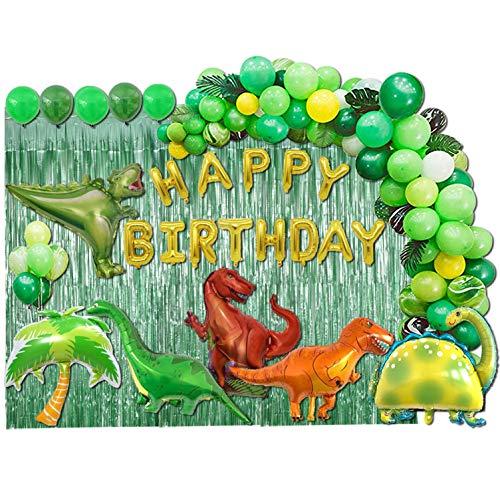 Dinosaur Birthday Party Decorations Set – Balloons Garland Kit for Boys Birthdays Baby Showers Jungle Supplies inclue Banner Palm Tree Tyrannosaurus Thunder Dragon Horned 113 PCS