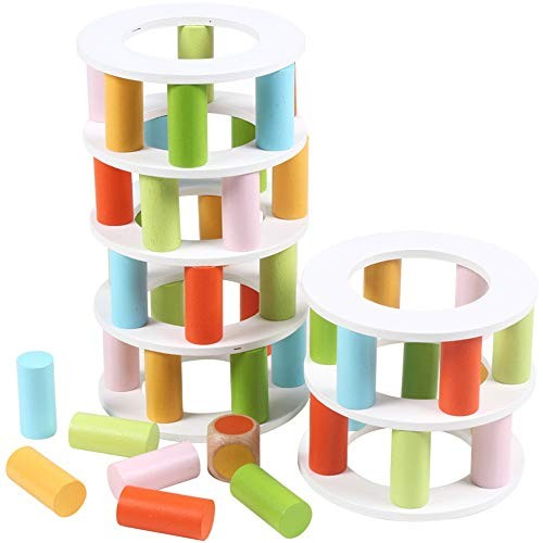 Liweibao Stacking Toys Wooden Building Blocks Toy Balance Game Early Childhood Educational Two Ways of Playing for Toddlers Size Free Size