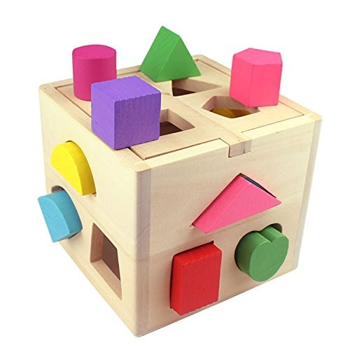 CAROOTU Kids Educational Toys Wooden Building Block Toddler for Learning Toy Tool Coordinating Eye and Hand Movements -Age 1-4
