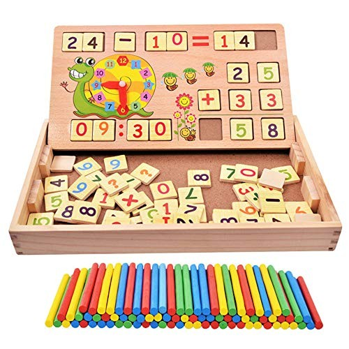 Counting Early Educational Toy Set Wooden Multifunctional Children Gift with Number Sticks and Building Blocks Blackboard Clock B