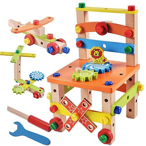 Baoniansoo Children Assemble Educational Toys disassembly Chair Puzzles Wooden Building Blocks Develop Children's Wisdom Gifts