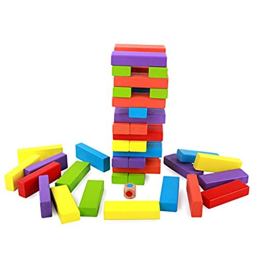 LJH 54 Pieces of Wooden Colorful Stacked High Toys Preschool Educational Puzzle Building Block Children's Fun Smoking Pumping Fx