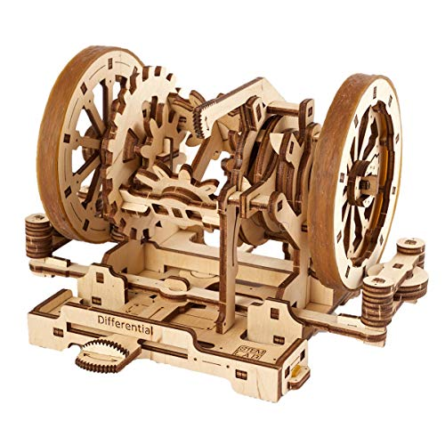 UGEARS Science STEM Differential Kid DIY Engineering Activity STEAM School Project Mechanical Wooden Puzzle Eco Building 3D Toy Educational Gift for Kids & Teen Boy Girl Self-Assembly Craft Kit
