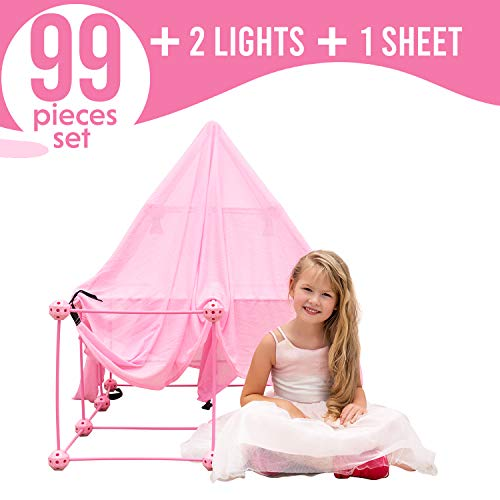 Funphix 99 Pc Princess Castle Kit with Pink Poles Net Sheet & Lights – Age 5+ Fun Fort Building Toy Encourages Young Imaginations