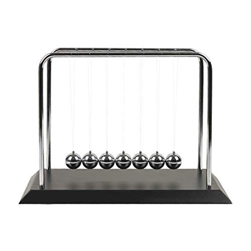 Newtons Cradle Balance 7 Large Balls Fun Science Physics Learning Toy Gadget Pendulum for Office Desk Toys and Home Decoration-7 Black Ball