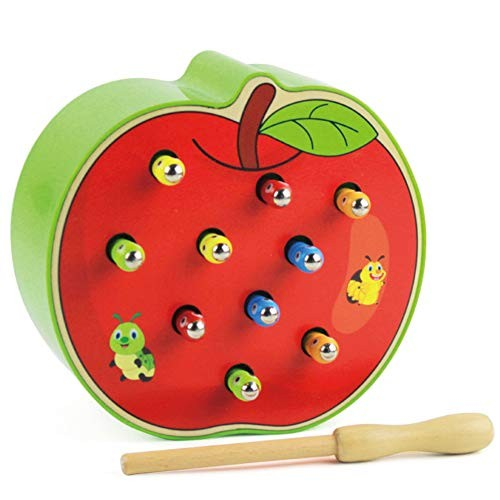 xIUHU Funny Fruits-Shaped Catch Worm Game Toy Wooden Building Blocks Toys Magnetic 3D Puzzle Early Preschool Educational for Kids Baby Toddlers Apple