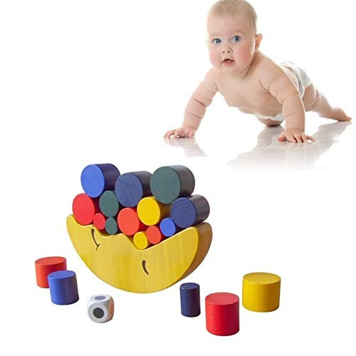 Intelligence Toys Great Wooden Moon Shape Balancing Building Blocks Toy Baby Early Learning Balance Training