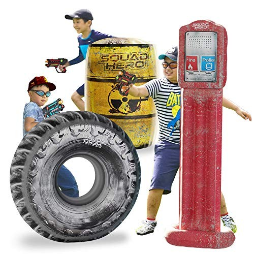 Combat Arena Inflatable Battle Obstacles Set – Compatible with Nerf Laser Tag Dart Guns
