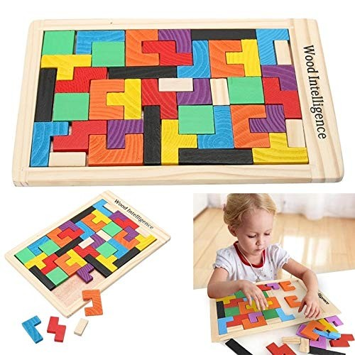 Intelligence Toys Great 8 x 5 Educational Wooden Brain Games Color Building Blocks