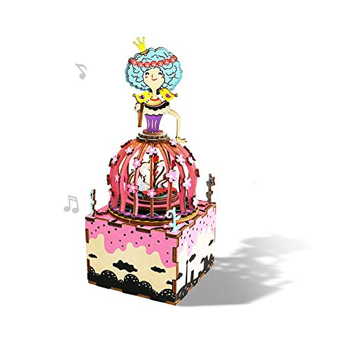 NHAO DIY Build It Yourself Wooden Music Box Kit with Hand Crank 3D Puzzle Wood Model Swan Princess Colorful Rotating Craft Kits Best Birthday for Women and Girls