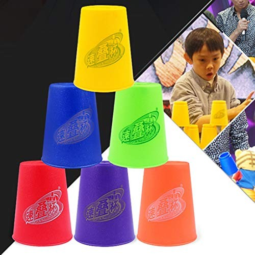 Intelligence Toys Great 6 PCS Mixed Colors Quick Stack Cup II Speed Training Sports Stacking Cups