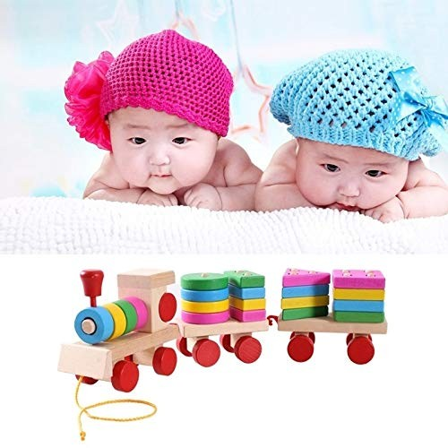 Intelligence Toys Great Wooden Train Shape Building Blocks Toy Baby Early Learning Training