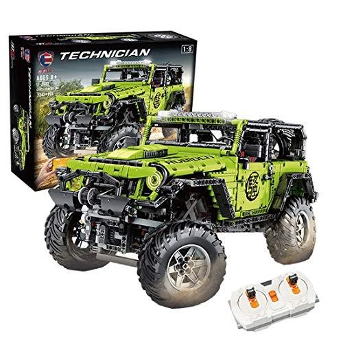 WOLFBSUH Race Car Jeep Wrangler Adventurer Building Set STEM Toy 2343Pcs 1 8 24G 4CH RC Blocks and Engineering Sports Model