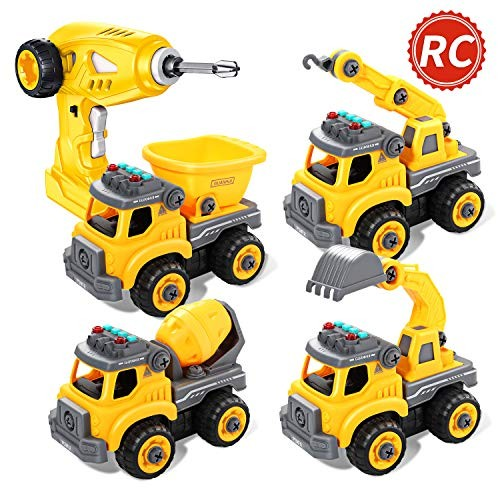 CUTE STONE Take Apart Toys Rechargeable Remote Control Car 4 in 1 Construction Truck