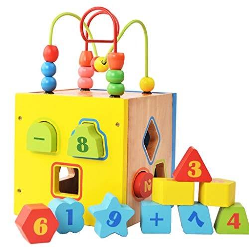LJH Children's Educational Early Education Round Bead Building Blocks Three-Dimensional Geometric Shape Wooden Toys Intelligence Fx