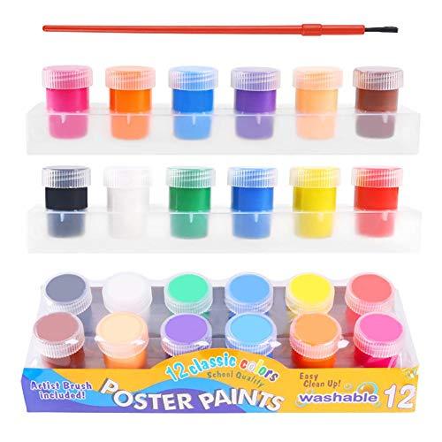 OTTF Washable Paint for Kids12 Colors Finger Paints Toddlers Non ToxicChildren Painting Vibrant Gouache Doodle Set