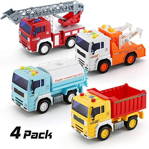 KeepRunning 4 Pack City Service Vehicle Car Truck Toy Set – Tow TruckDump TruckSprinklerand