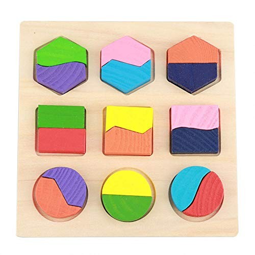 wosume Geometric Toy Kids Educational Wooden Set Block Building Puzzle Baby Early Learning Tool #2