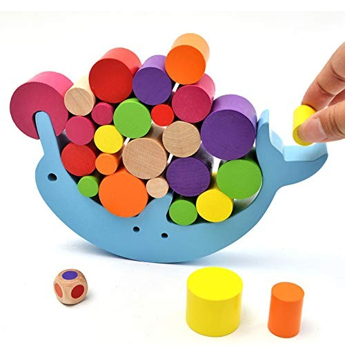 Aoile Children's Wooden Toys Contain Dolphin Balance Building Block Parent Child Interactive Early Education Table Games